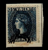 ST.VINCENT - QV 4d blue perforated SPIRO FORGERY with bogus cancel.