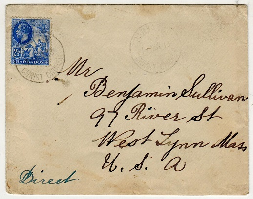 BARBADOS - 1913 2 1/2d rate cover to USA used at CHRIST CHURCH.