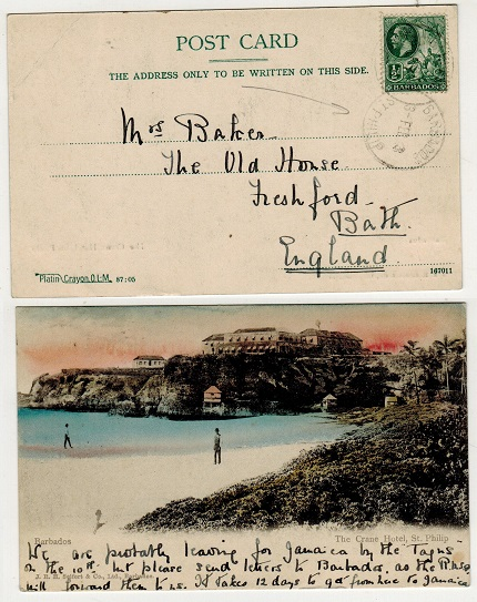 BARBADOS - 1913 1/2d rate postcard use to UK used at ST.PHILLIP.
