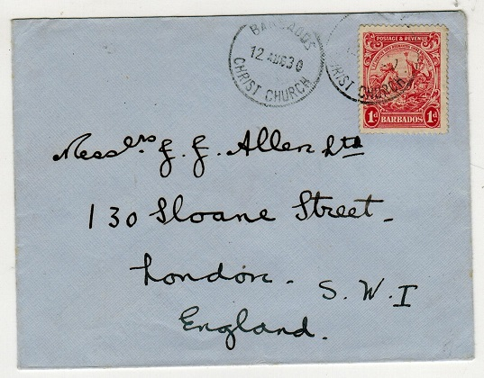BARBADOS - 1930 1d rate cover to UK used at CHRIST CHURCH.