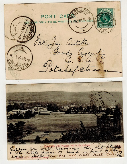 NATAL - 1904 1/2d rate postcard use to Potchefstroom used at WASHBANK.