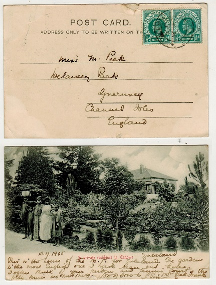 NATAL - 1905 1/2d rate postcard use to UK used at ESHOWE. (ex Zululand).