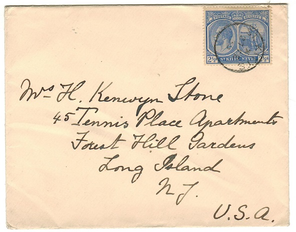 ST.KITTS - 1935 2 1/2d rate cover to USA.