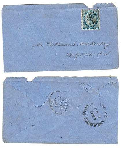 PRINCE EDWARD ISLAND - 1866 3d rate cover to Nova Scotia.