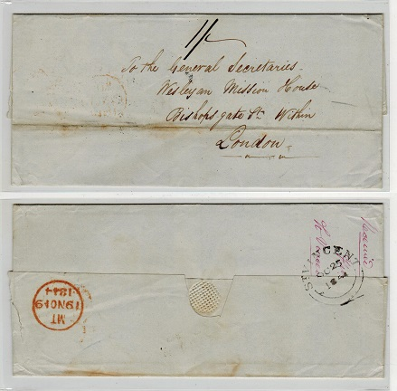 ST.VINCENT - 1844 outer wrapper to UK with ST.VINCENT double arc b/s.