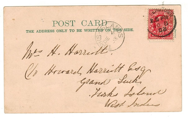 TURKS AND CAICOS IS - 1903 inward postcard from UK with TURKS ISLAND cds arrival applied.