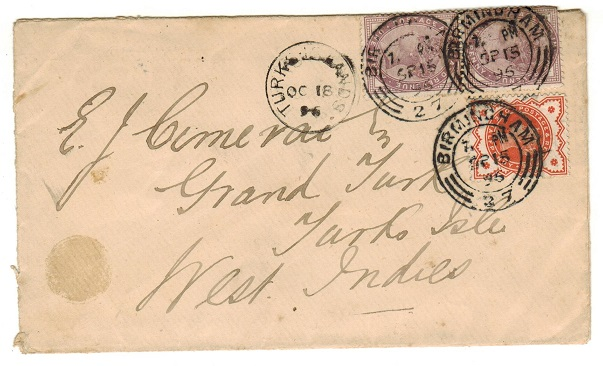 TURKS AND CAICOS IS - 1896 inward cover from UK with TURKS ISLAND arrival cds.