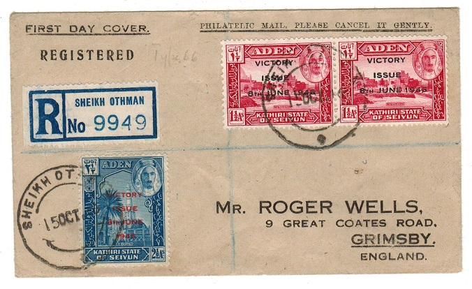 ADEN - 1947 registered cover to UK used at SHEIK OTHMAN.