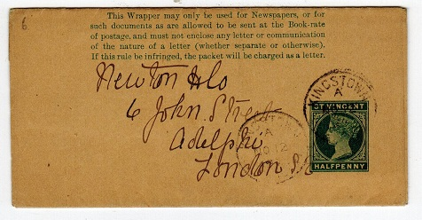 ST.VINCENT - 1893 1/2d postal stationery wrapper used from KINGSTOWN.  H&G 1.