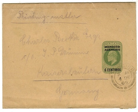 MOROCCO AGENCIES - 1906 5c on 1/2d yellow green wrapper to Germany used at TANGIER.  H&G 6.