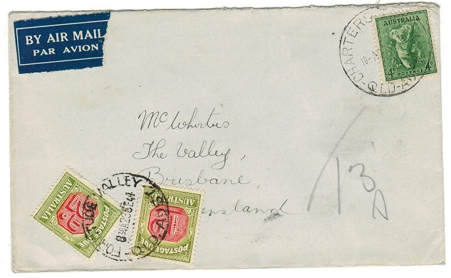 AUSTRALIA - 1944 underpaid local cover from CHARTERS TOWER with 1d+2d