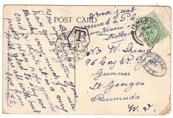 BERMUDA - 1907 inward underpaid postcard from UK with POSTAGE/1d/DUE h/s applied.