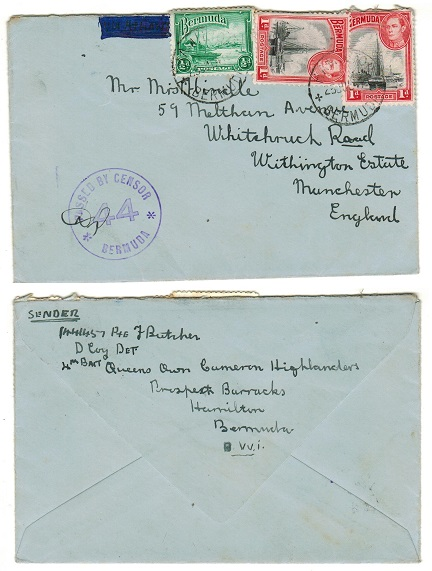 BERMUDA - 1941 2 1/2d rate cover to UK from