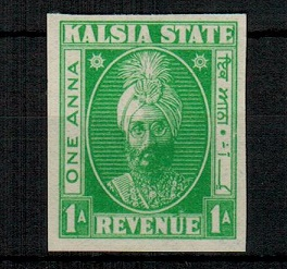INDIA (Kalsia State) - 1948 1a IMPERFORATE COLOUR TRIAL of the REVENUE issue in bright green.