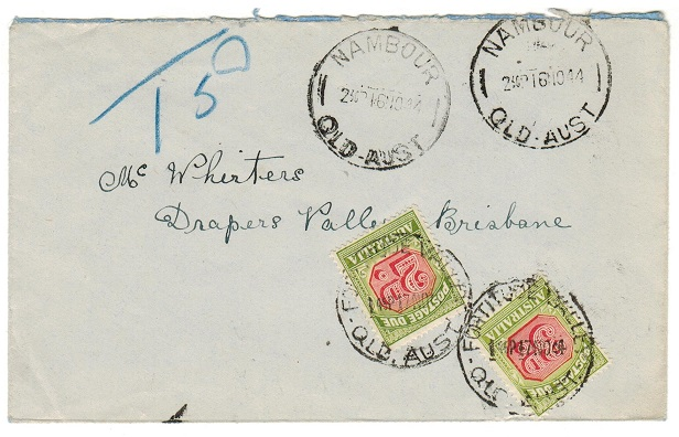 AUSTRALIA - 1944 underpaid cover from NAMBOUR with 2d+3d