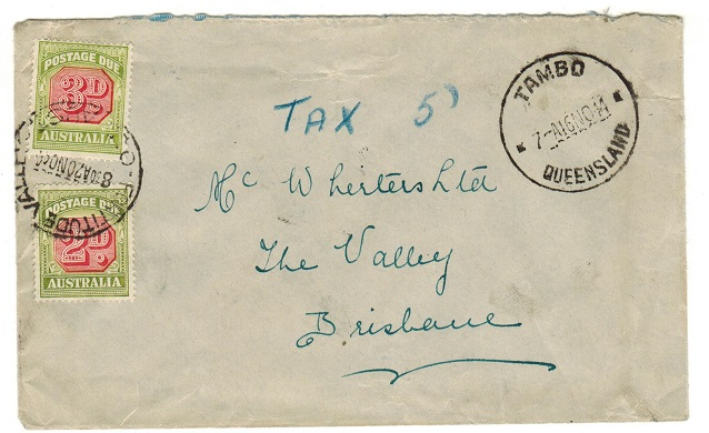 AUSTRALIA - 1944 underpaid cover from TAMBO with 2d+3d