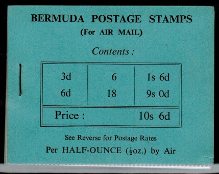 BERMUDA - 1948 10s6d black on blue BOOKLET.  SG SB2.