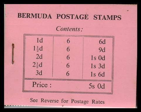 BERMUDA - 1948 5/- black on pink BOOKLET.  SG SB1.