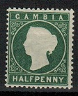 GAMBIA - 1886 1/2d mint with LONG STROKE TO M variety.  SG 22.