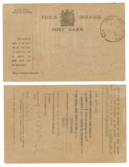EGYPT - 1917 use of FIELD SERVICE postcard from ARMY POST OFFICE/SZ9.