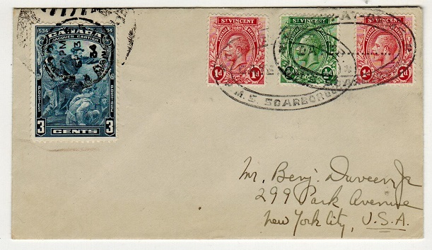 ST.VINCENT - 1934 2 1/2d rate cover to USA with Canadian 3c added sent on H.M.S. SCARBOROUGH.