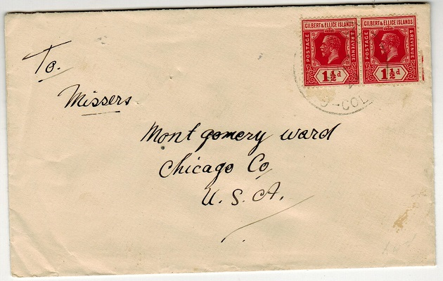 GILBERT AND ELLICE IS - 1929 1 1/2d rate cover to USA used at TARAWA.