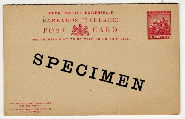 BARBADOS - 1892 1d+1d PSRC unused with SPECIMEN applied diagonally in black.  H&G 10.