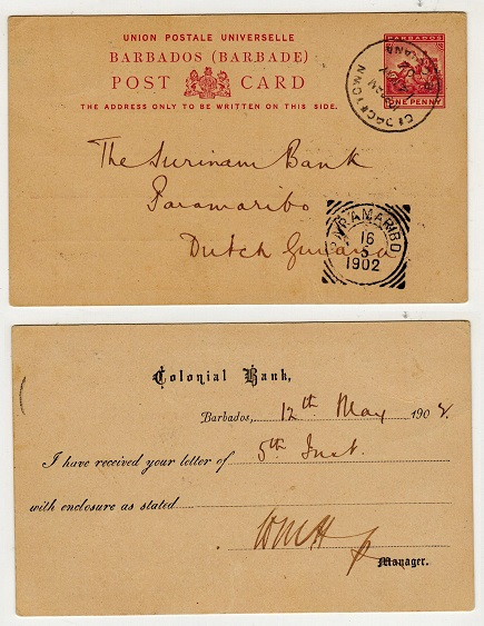 BARBADOS - 1892 1d carmine PSC to Dutch Guiana cancelled in transit at GEORGETOWN.  H&G 9.