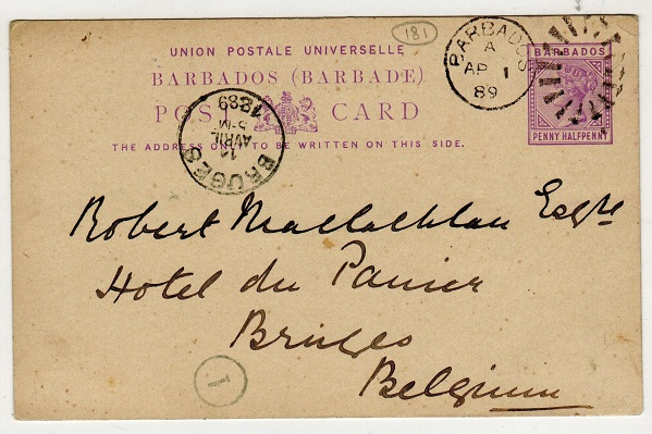 BARBADOS - 1883 1/2d lilac PSC to Belgium cancelled BARBADOS.  H&G 4.
