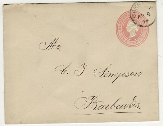 BARBADOS - 1882 1d pink PSE used locally.  H&G 1a.