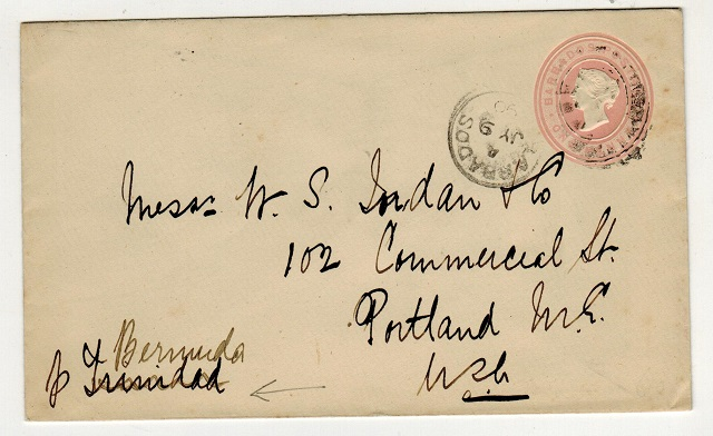 BARBADOS - 1882 1d pink PSE addressed to USA and sent Via Bermuda.  H&G 1.