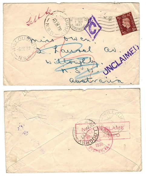 AUSTRALIA - 1937 inward UNCLAIMED cover from UK to NSW.