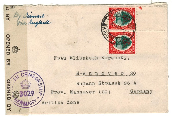 SOUTH AFRICA - 1947 1/- rate cover to Germany with BRITISH CENSORSHIP h/s.
