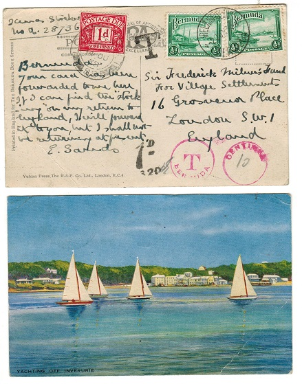 BERMUDA - 1938 taxed underpaid postcard to UK from IRELAND ISLAND.
