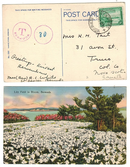 BERMUDA - 1941 underpaid postcard use to USA from ST.GEORGES.
