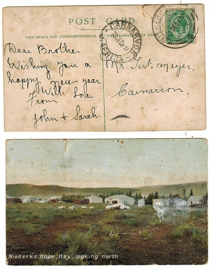 SOUTH AFRICA - 1914 1/2d rate local postcard use used at NIEKERSHOPE.