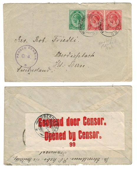 SOUTH AFRICA - 1917 2 1/2d rate censor cover to Switzerland used at NEBO.