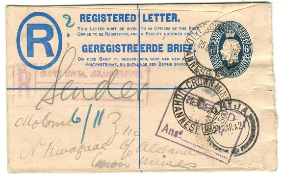 SOUTH AFRICA - 1922 6d blue RPSE addressed to Basutoland used at CROWN MINE.  H&G 5.