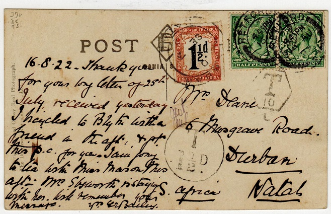 SOUTH AFRICA - 1922 inward under paid postcard from UK with 1 1/2d