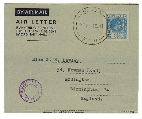 FIJI - 1949 3d ultramarine postal stationery air letter used on the first day of issue.  H&G 2.