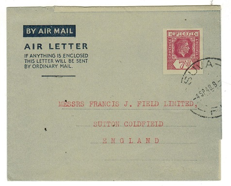 FIJI - 1949 7d maroon postal stationery air letter (no message) cancelled at SUVA. H&G 1.