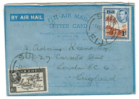 FIJI - 1945 (no value) FIJI AIR MAIL/LETTER CARD to UK used at SUVA.