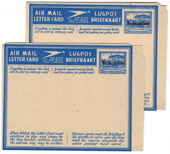 BECHUANALAND - 1945 3d blue postal stationery air letters unused.  H&G 4+5.