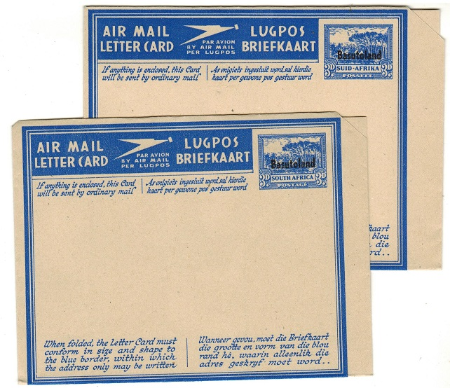 BASUTOLAND - 1945 3d blue postal stationery air letters unused.  H&G 4+5.