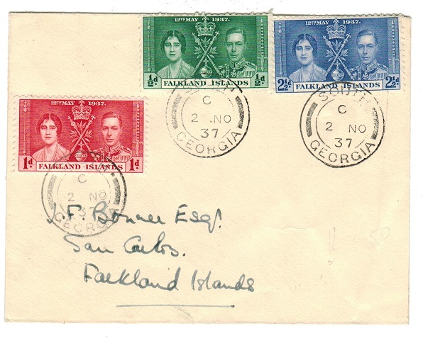 FALKLAND ISLANDS - 1937 Coronation trio on local cover from SOUTH GEORGIA.