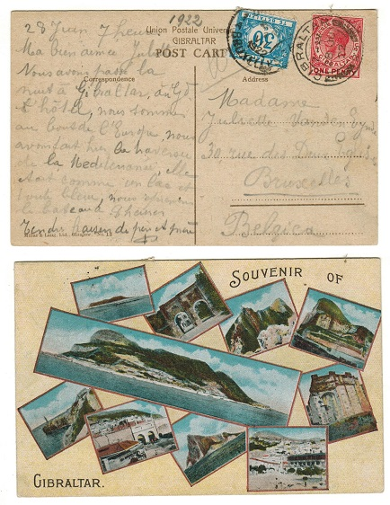 GIBRALTAR - 1922 underpaid postcard to Belgium with postage due applied on arrival.