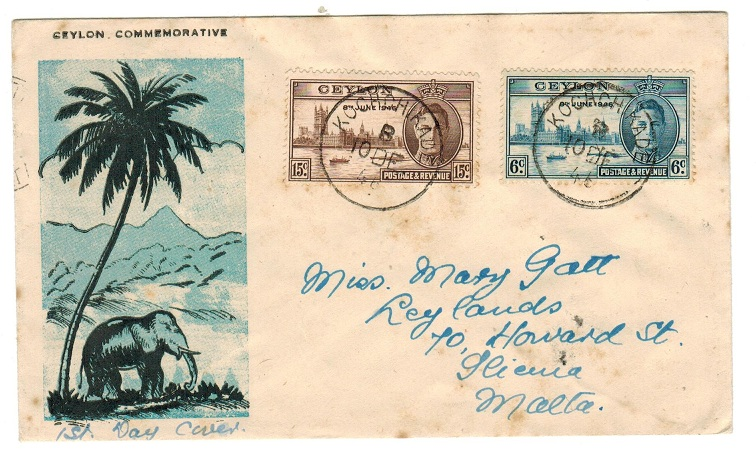 CEYLON - 1946 use of illustrated cover to Malta bearing