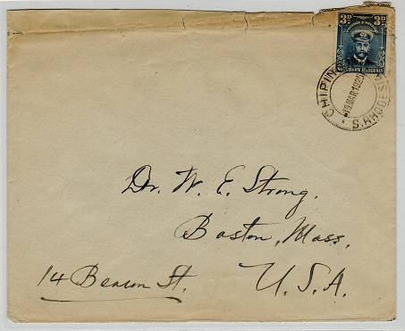 SOUTHERN RHODESIA - 1925 3d rate cover to USA (faults) used at CHIPINGA.