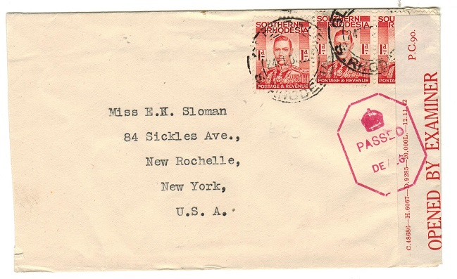 SOUTHERN RHODESIA - 1942 3d rate censor cover to USA used at GLENDALE.