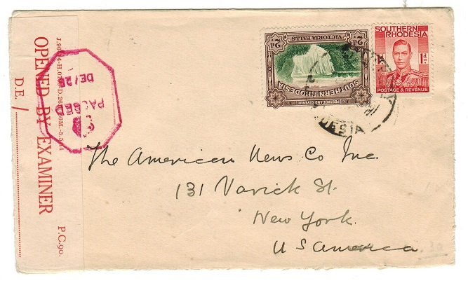 SOUTHERN RHODESIA - 1944 3d rate censor cover to USA used at SALISBURY.